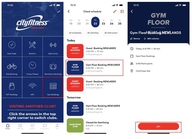 Gym floor booking